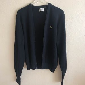 Vintage Lacoste navy button down grandpa sweater